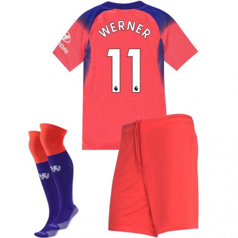 Детская резервная форма ФК Челси 2020-2021 Тимо Вернер 11 (футболка + шорты + гетры)